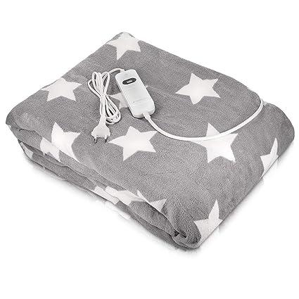Navaris manta eléctrica XXL - Colcha 180x130CM con termostato - Manta térmica con regulador 3 niveles - Lavable en lavadora gris con estrellas