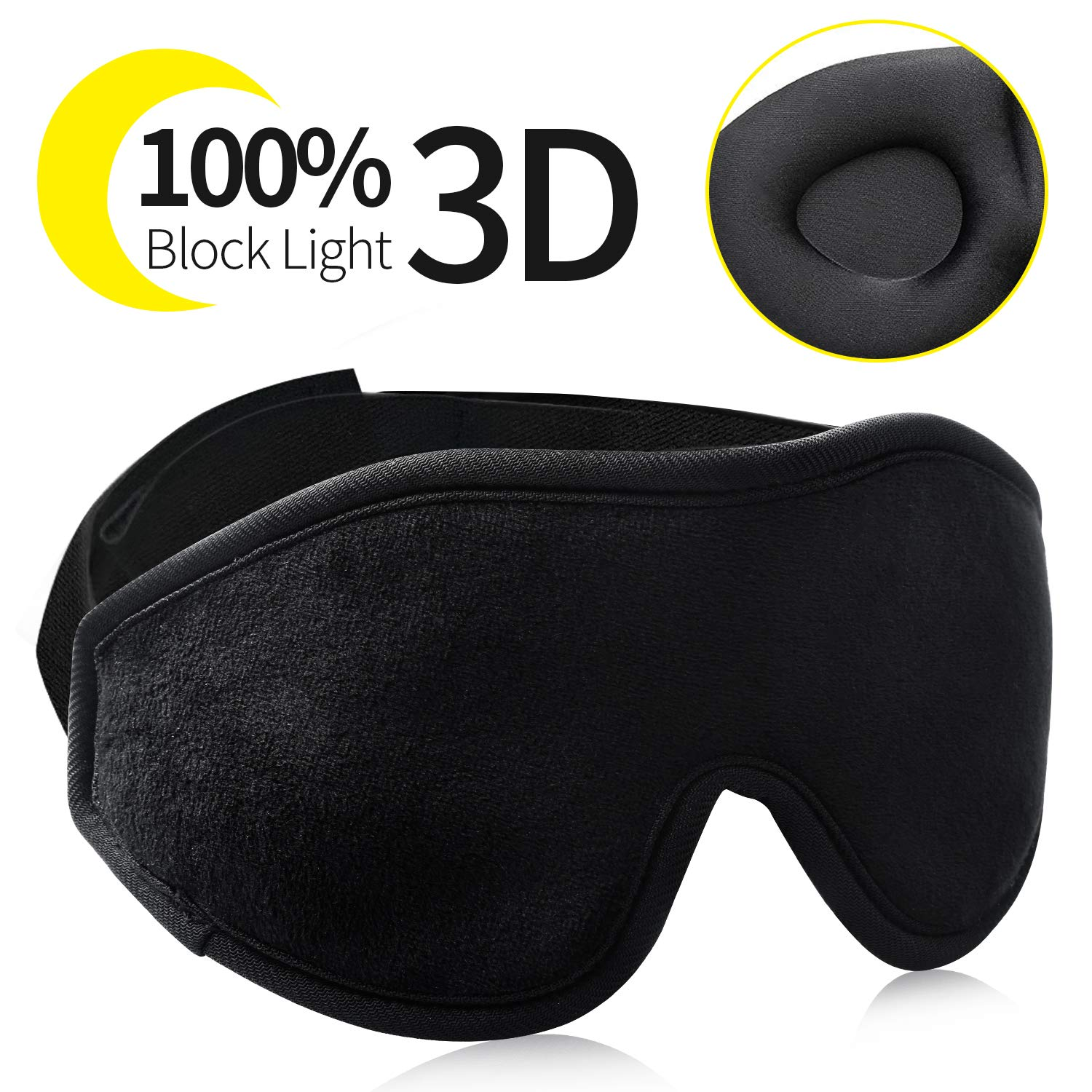 XUENG Sleep Eye Mask for Women Men 3D Soft Eye Shade Covers Pillow for Sleeping Blindfold with Travel Pouch 100% Lightproof Silk Night Sleep Mask for Yoga Meditation Traveling Black by XUENG