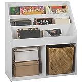 SoBuy KMB01-W Bücherregal für Kinder Zeitungsständer Aufbewahrungsregal mit 3 Ablagefächern und 2 Offenen Fächern, BHT ca.: 73x80x30cm