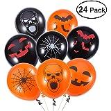 UNOMOR Halloween Latex Luftballone fur Party Dekorationen 24 Gemischt – 4 Halloween Designs mit Orange, Schwarzfarbigen Luftballonen – Handpumpe im Lieferumfang