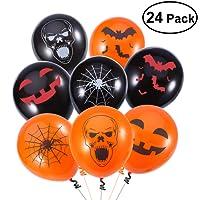 Unomor Halloween Deko Latex Luftballone fur Party Dekoration 24 Gemischt – 4 Halloween Designs mit Orange-, Schwarzfarbigen Luftballonen – Handpumpe im Lieferumfang