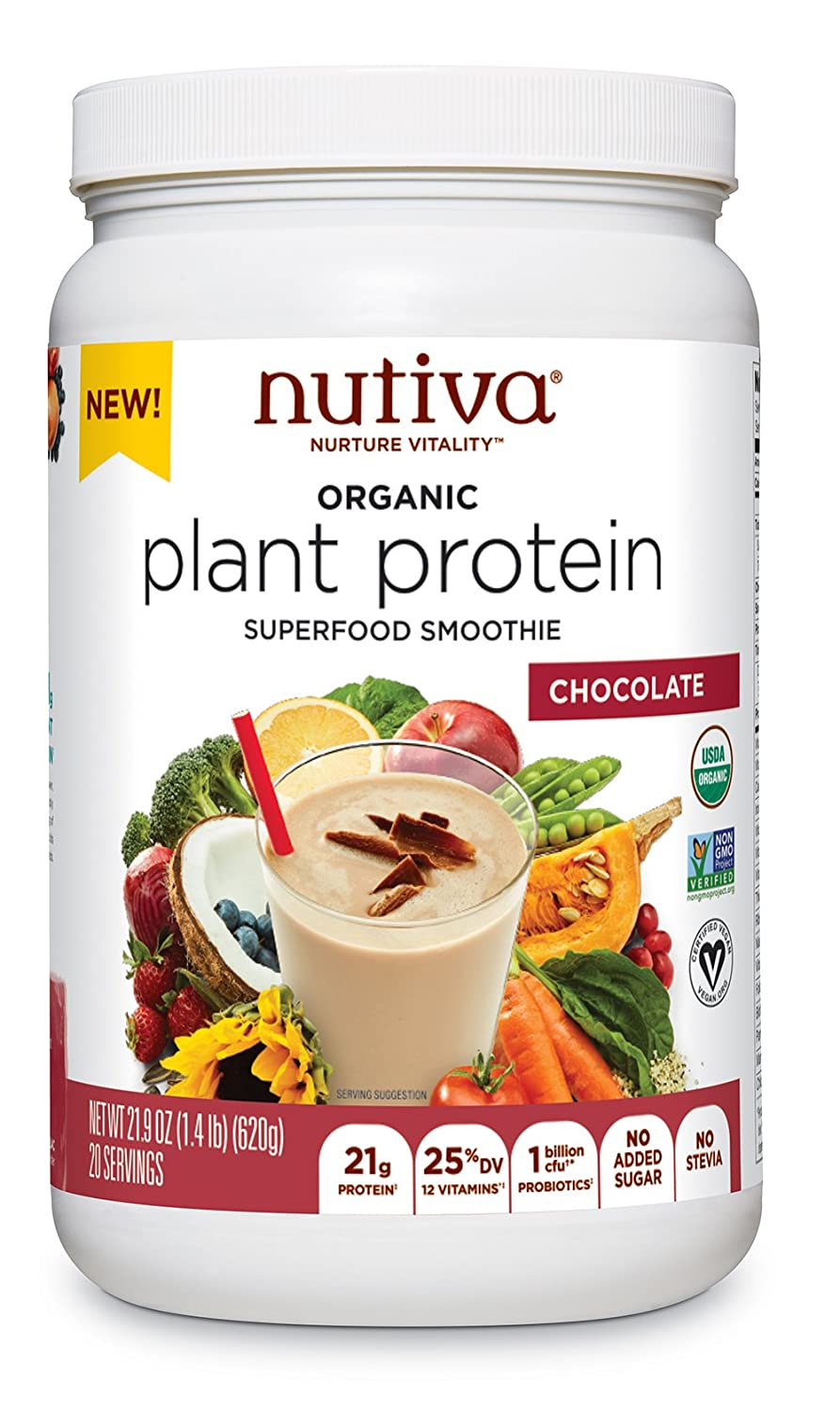 Nutiva Organic Plant Protein Superfood Smoothie, Chocolate, 1.4 Pound | USDA Organic, Non-GMO, Non-BPA | Vegan, Gluten-Free, Keto & Paleo | 21g Protein Shake & Meal Replacement with No Sugar