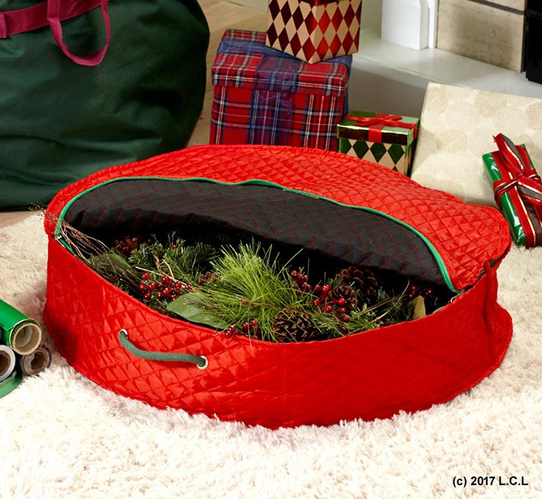 Unbranded 24'' Wreath Storage Case Portable Organizer Zipper Box Bin Christmas Holiday by Unbranded