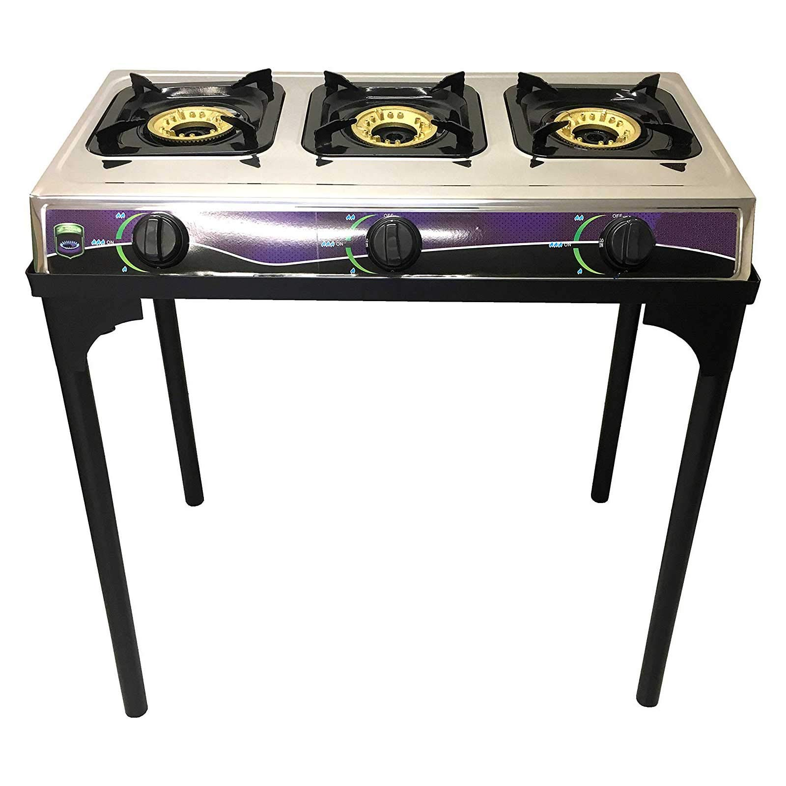 #1 Heavy Duty Three Burner Propane Gas Stove Outdoor Cooking Butane Gas Stove Full Stainless Steel Body Electronic Ignition Available without or with Black Metal Stand (THREE BURNER STOVE WITH STAND) by Unique Imports
