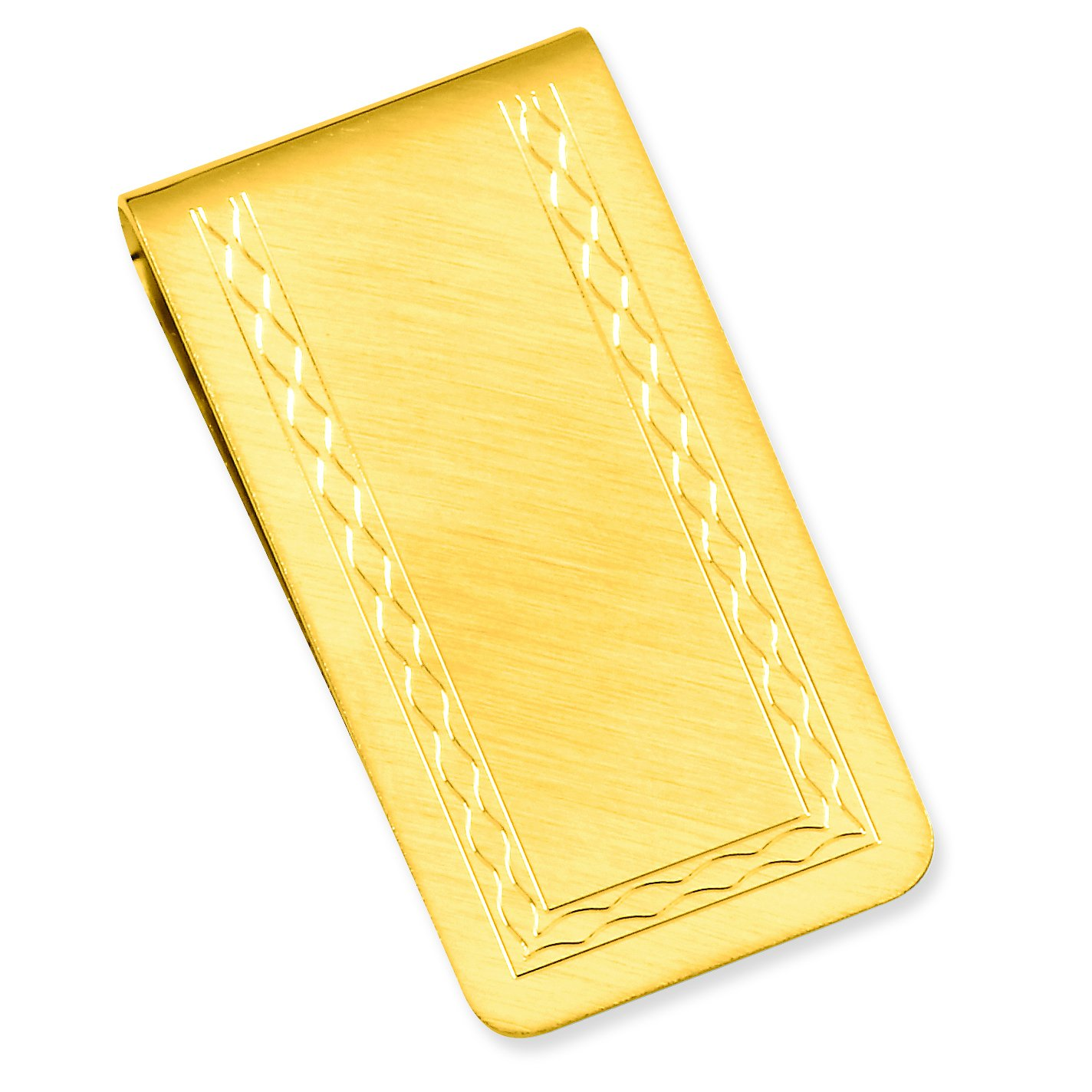 Diamond2Deal Gold-Plated Kelly Waters with Engraveable Area Florentine Money Clip Length: 25 mm Width: 50mm