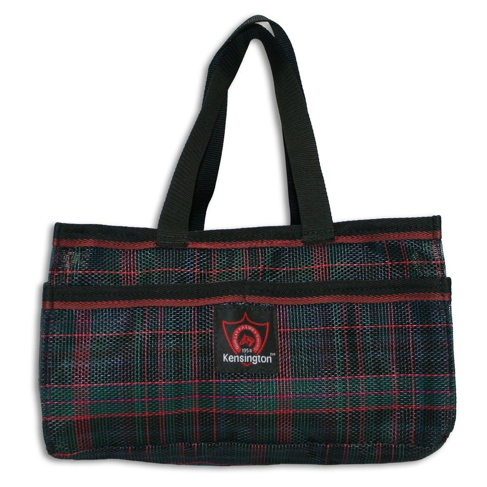 Kensington Horse Grooming Tote Bag — Handy Upright Stow Away in Vibrant Plaid Designs — Durable with Lots of Storage Compartments — 12'' L x 7'' W x 7'' D (Blackwatch Plaid)