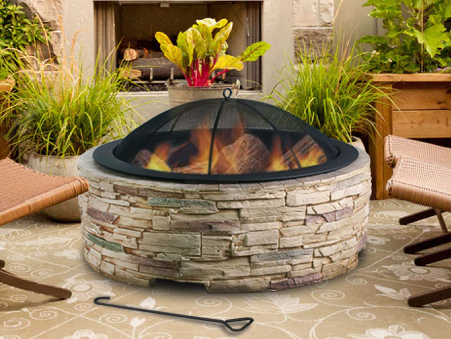 Artestia 36'' Stylish Glass Reinforced Concrete (GRC) Fire Pit, Black High Heat Resistant Powder Coating Steel Bowl, Simulated Stone Base, Outdoor Wood Burning Bonfire in Front or Back Yard, Patio by Artestia