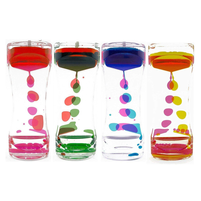Akusety 4 Pack Liquid Motion Bubbler for Sensory Play, Fidget Toy, Children Activity, Desk Top, Assorted Colors