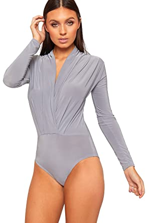 088242c344 WearAll Womens Plunge V-Neck Pleated Bodysuit Long Sleeve Slinky Leotard  Top - Dark Grey