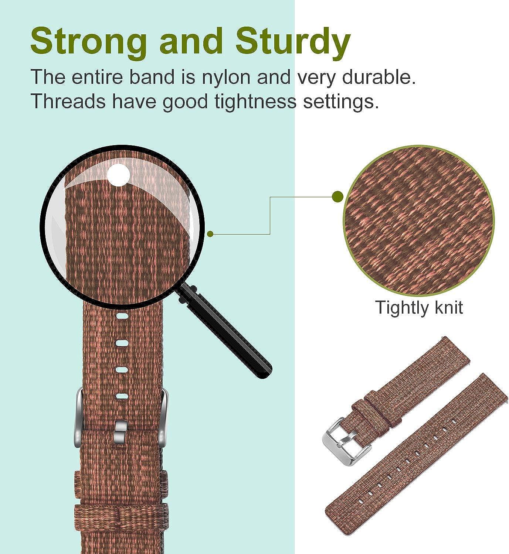 Ullchro Nylon Bracelet Montre Haute Qualité Bracelet Montre Armée Militaire - 16mm, 18mm, 20mm, 22mm, 24mm Montre Bracelet avec Acier Inoxydable Boucle Marron