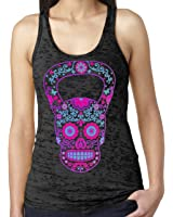 SoRock Women's Kettlebell Skull Burnout Tank Top