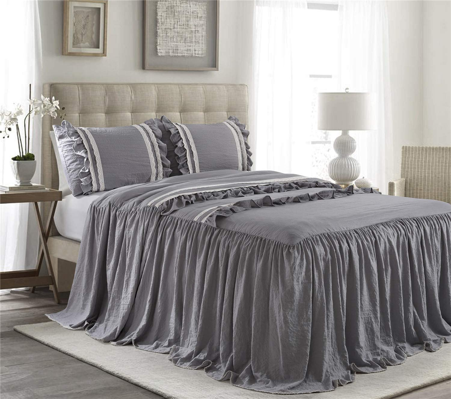 HIG 3 Piece Ruffle Skirt Bedspread Set King-Gray Color 30 inches Drop Ruffled Style Bed Skirt Coverlets Bedspreads Dust Ruffles- Emma Bedding Collections King Size-1 Bedspread, 2 Standard Shams
