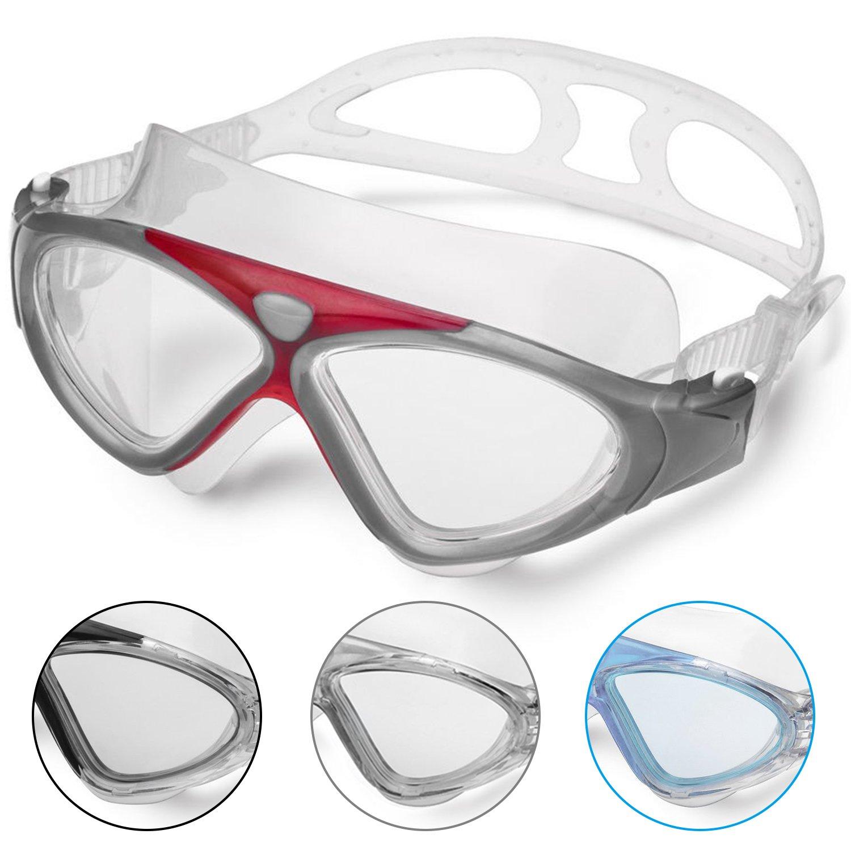 Lunettes de Natation - Lunettes de Piscine Adultes Transparents Antibuée  Etanches Protection UV Réglables Vision 180 2587798852cb