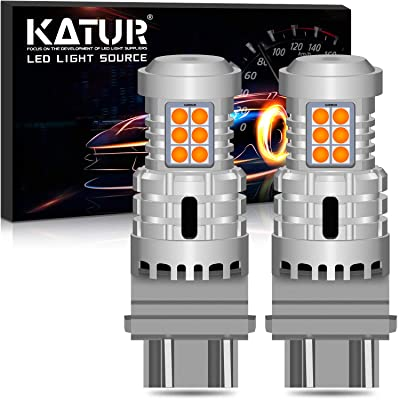 KATUR 3157 3057 T25 P27/7W LED Bulbs Super Bright 12pcs 3030 & 8pcs 3020 Chips Canbus Error Free Replace for Turn Signal Reverse Brake Tail Stop Parking RV Lights,Amber Yellow(Pack of 2): Automotive
