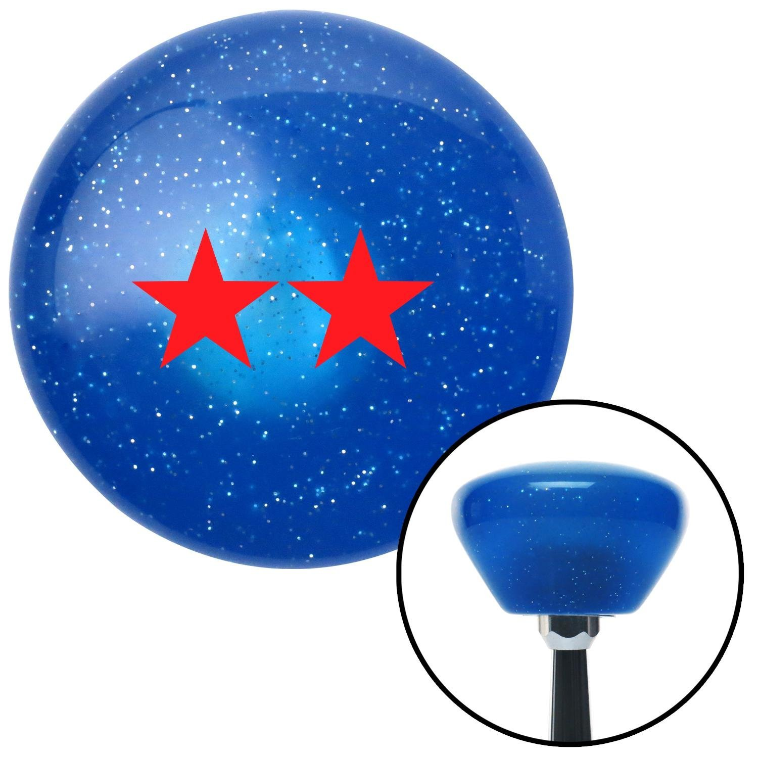 Red Officer 08 - Major General American Shifter 186746 Blue Retro Metal Flake Shift Knob with M16 x 1.5 Insert
