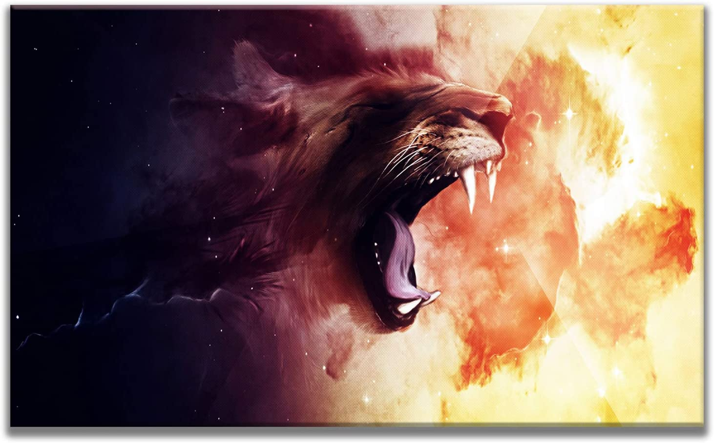 MuYu Art 24x36 inch Abstract Painting Giclee Artwork Prints Picture Wall Art Painting Yellow Black Lion Head Roaring Print On Canvas Framed for Home Home Living Room Bedroom Office Modern Decoration