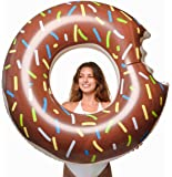 Floatie Kings Chocolate Frosted Donut Pool Float | Giant Premium Inflatable, Summer Pool or Beach Fun, Strengthened PVC Fabric, Includes Patch Kit