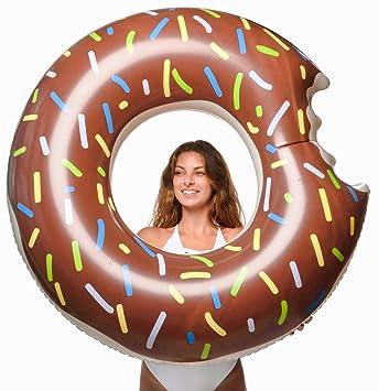 Floatie Kings Donut de Chocolate Flotador de Piscina - Inflable Gigante