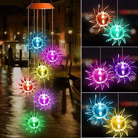 Carillon Solaire LED, Swonuk Carillon Mobile Exterieur Jardin Avec  Carillons Eoliens Sun-God, Avec Changement de Couleur Etanche, Pour La ...