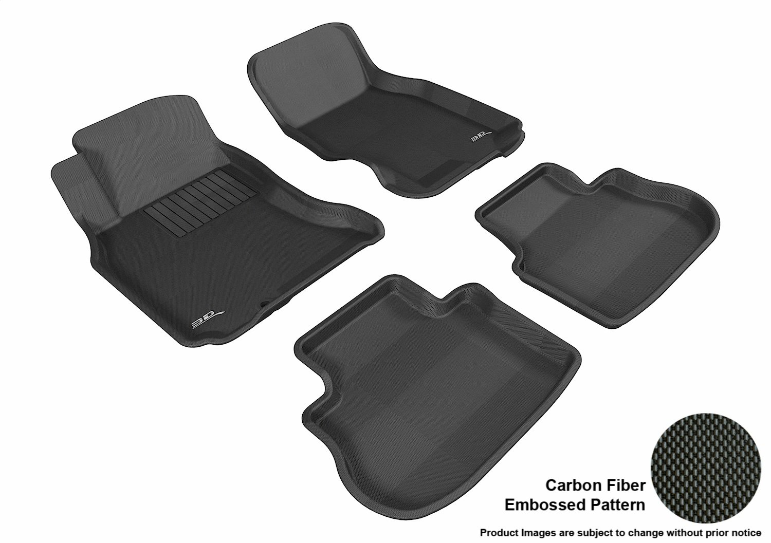 Gray 3D MAXpider Front Row Custom Fit All-Weather Floor Mat for Select Infiniti FX35//45 Models Kagu Rubber