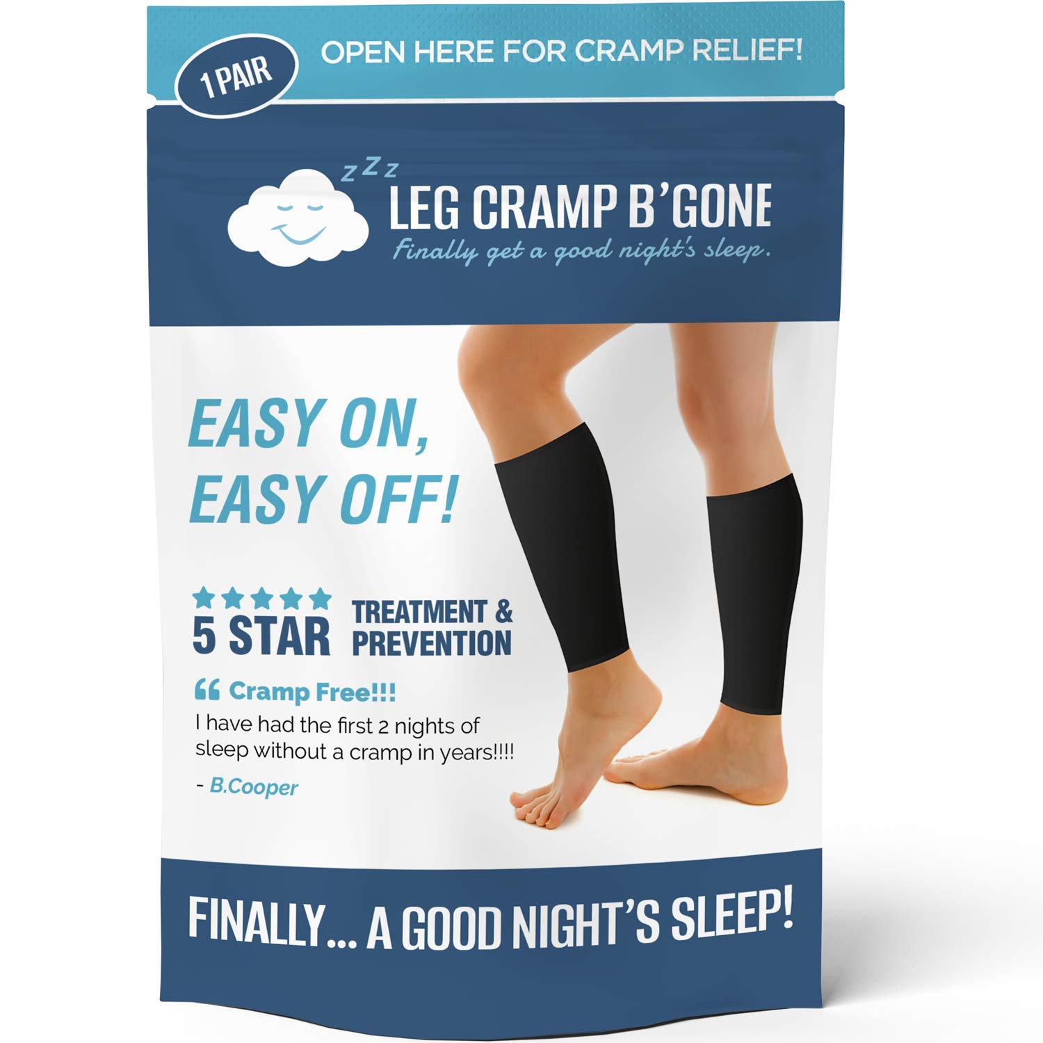 Sleeper Sleeves Can Stop and Prevent Night Leg and Foot Cramps - The Original Easy On, Easy Off - Made in USA - Maximum Calf Size - 14 1/2 INCH Circumference - DO NOT Exceed, Pain Will Increase
