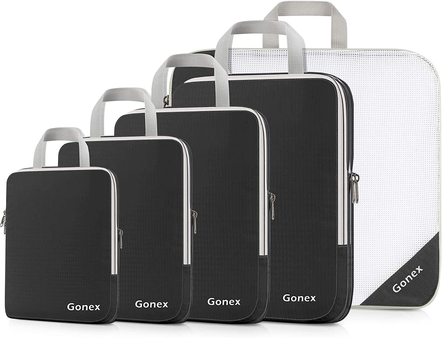 Gonex Compression Packing Cubes, 5pcs Expandable Storage Travel Luggage Bags Organizers
