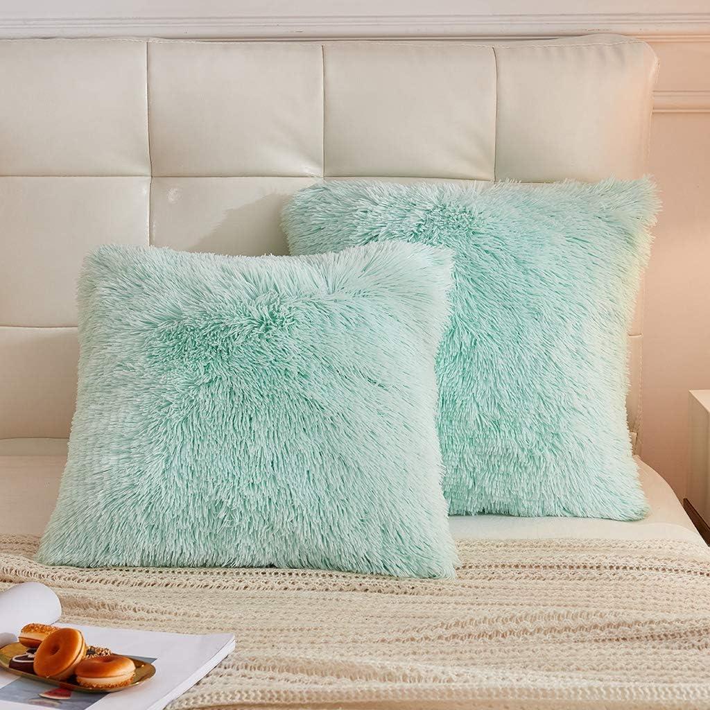 LIFEREVO 2 Pack Shaggy Plush Faux Fur Decorative Throw Pillow Cover Velvety Soft Cushion Case 18 x 18 Inch, Mint