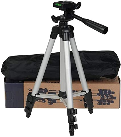 3110 Tripod Aluminium Adjustable Portable and Foldable Tripod Stand Mobile Clip and Camera Holder with Bag