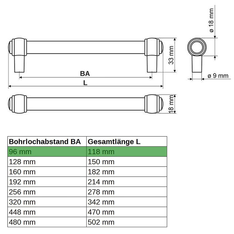 SO-TECH/® M/öbelgriff Stilgriff Althea Altmessingoptik BA 96 mm