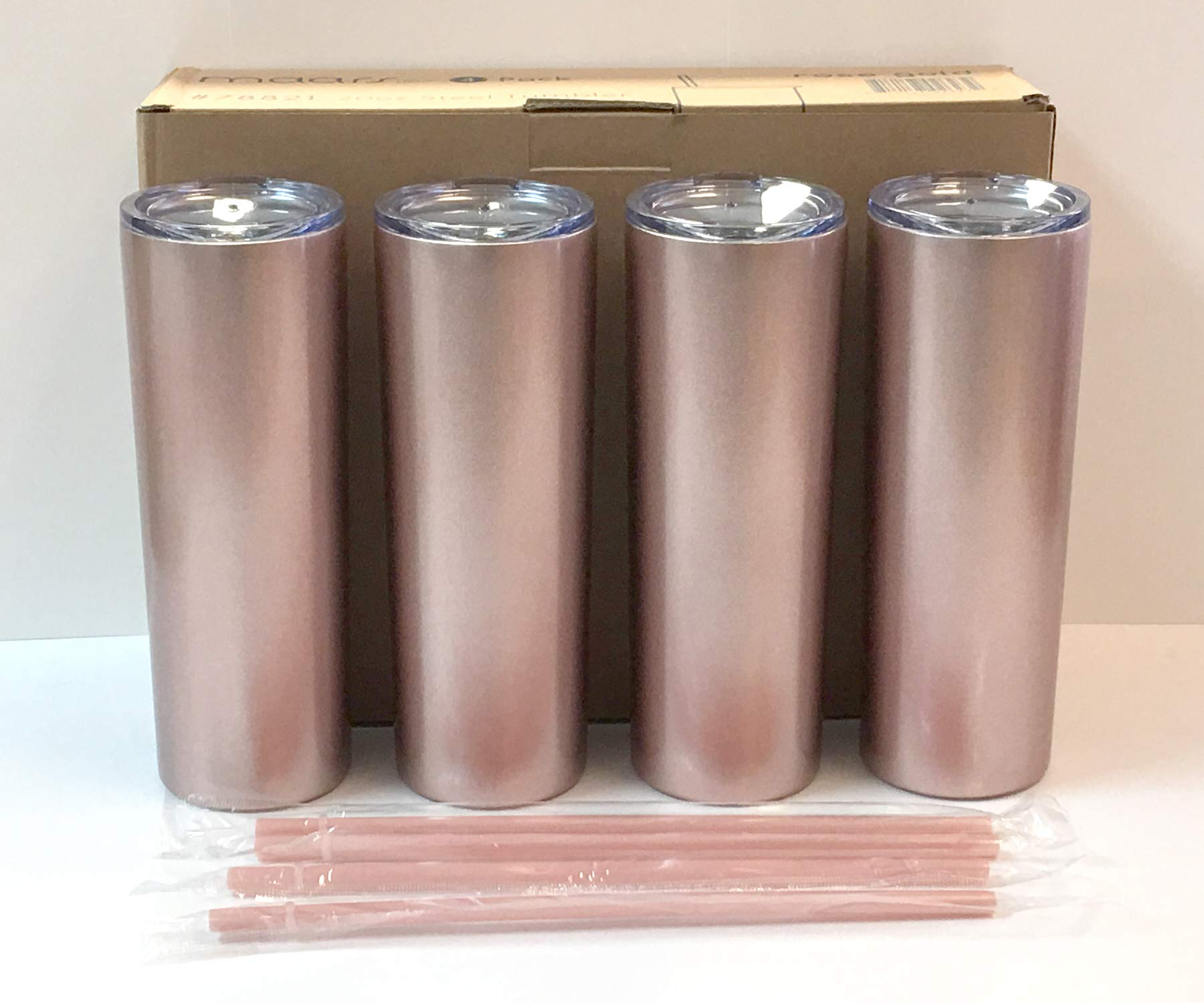 Maars 20 oz. Skinny Steel 4 Pack Double Wall Stainless Tumbler, Rose Gold