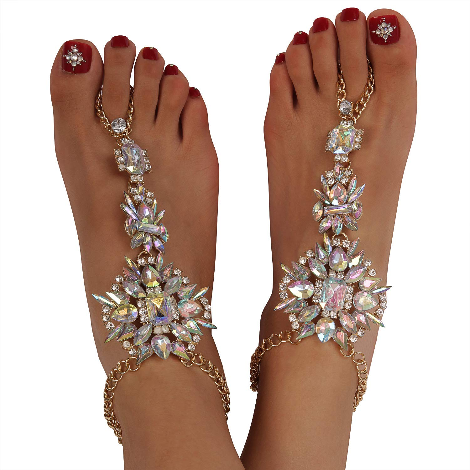 6988e1edc5a01 Holylove 1 Pair 2 Color Crystal Foot Jewelry for Women Barefoot Sandals  Beach Wedding with Gift Box