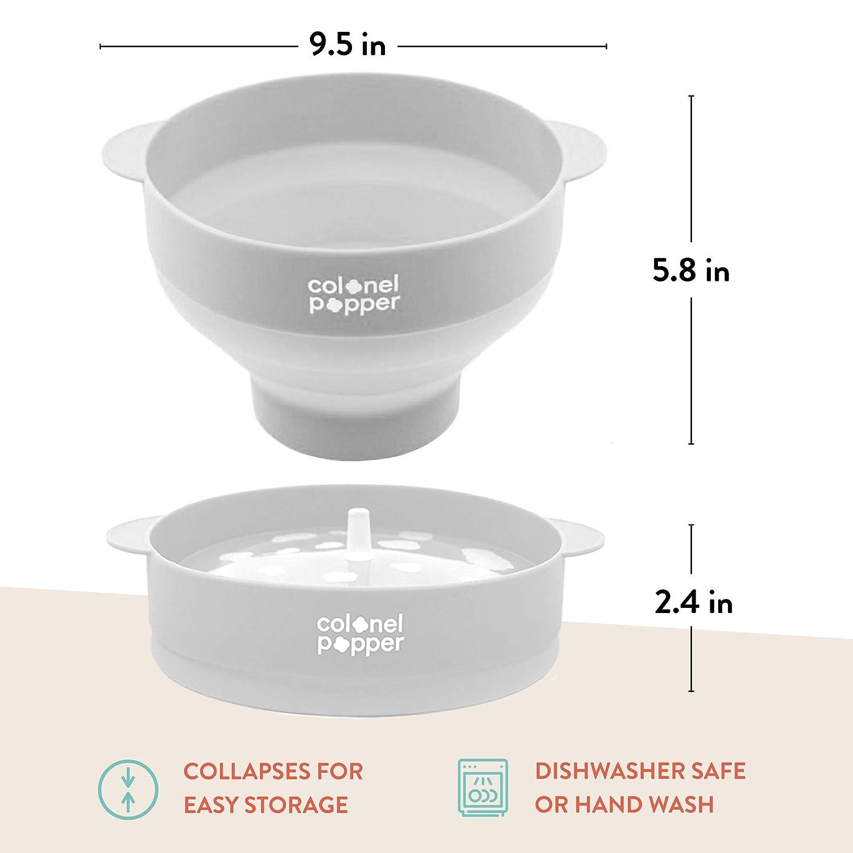 Colonel Popper fabricante de popper palomitas de microondas tazón de maíz airpop caliente (gris)