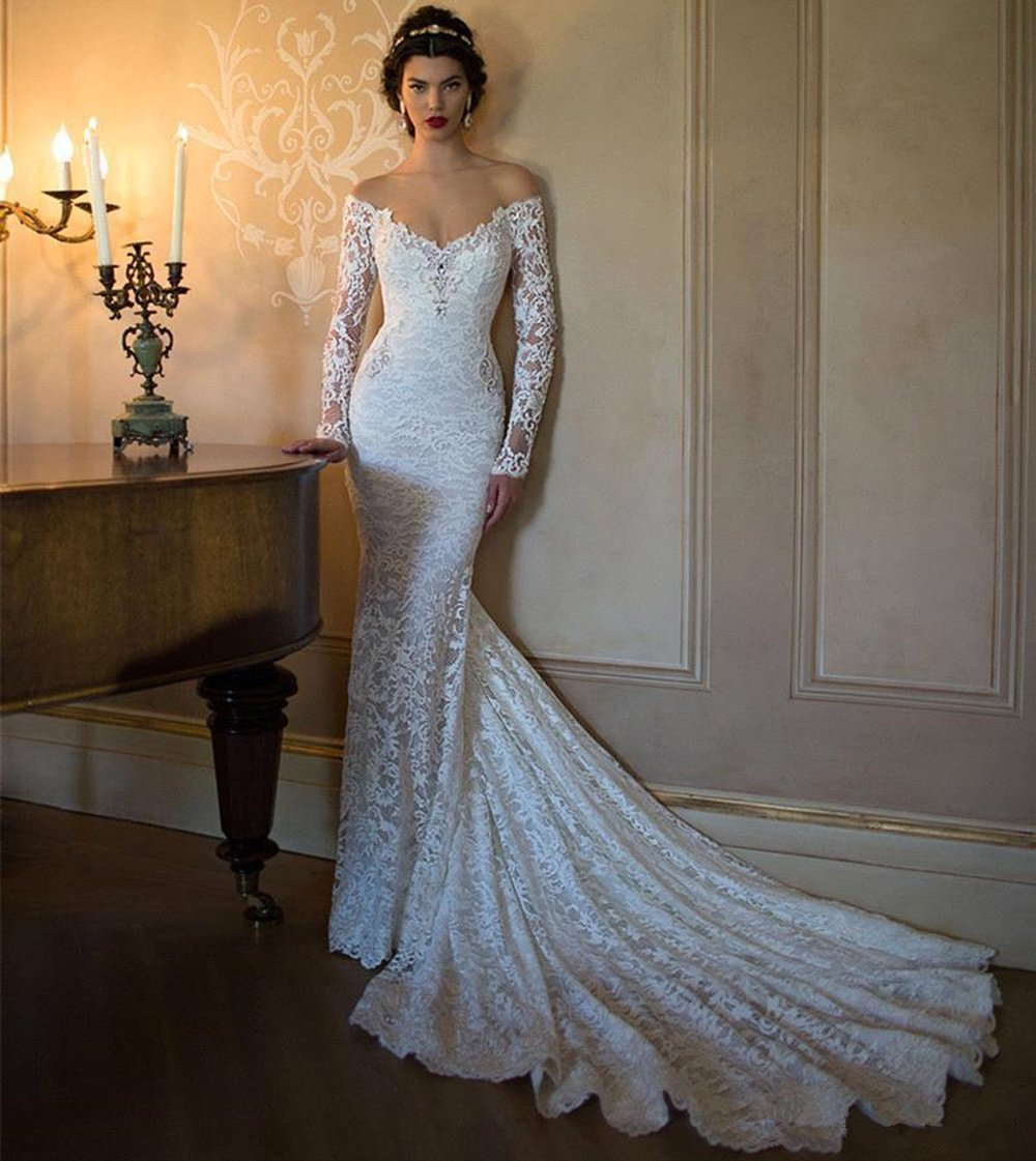 Little Prettydress Elegant Women S Spring Sweetheart Off Shoulder Mermaid Wedding Dresses Long Sleeve Lace Bridal Gowns