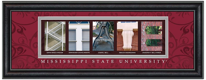 Prints Charming Buchstabe Kunstdruck gerahmt, Mississippi State-State, Bold Farbe Grenze