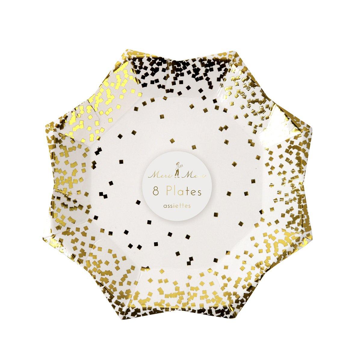 8 kleine weihnachtliche Pappteller mit Gold Konfetti verziert Meri Meri