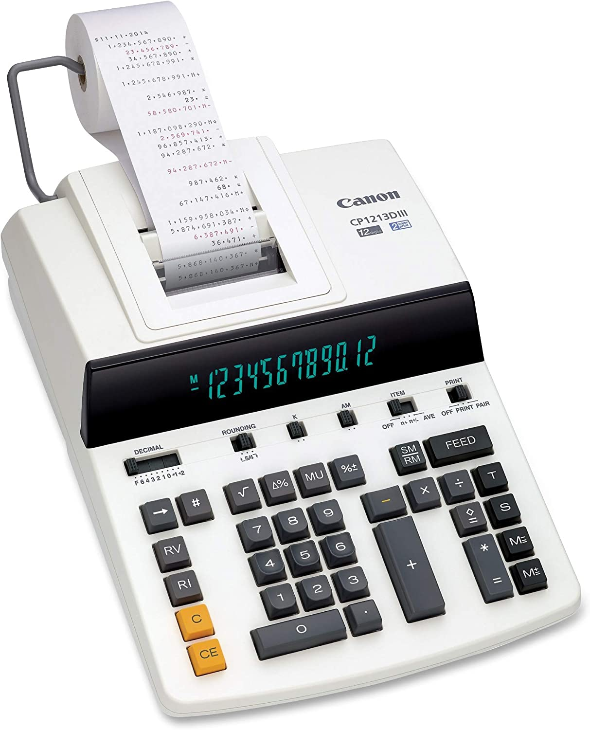 """Canon Office Products CP1213DIII Desktop Printing Calculator, White, 6"""" x 11"""" x 17"""""""