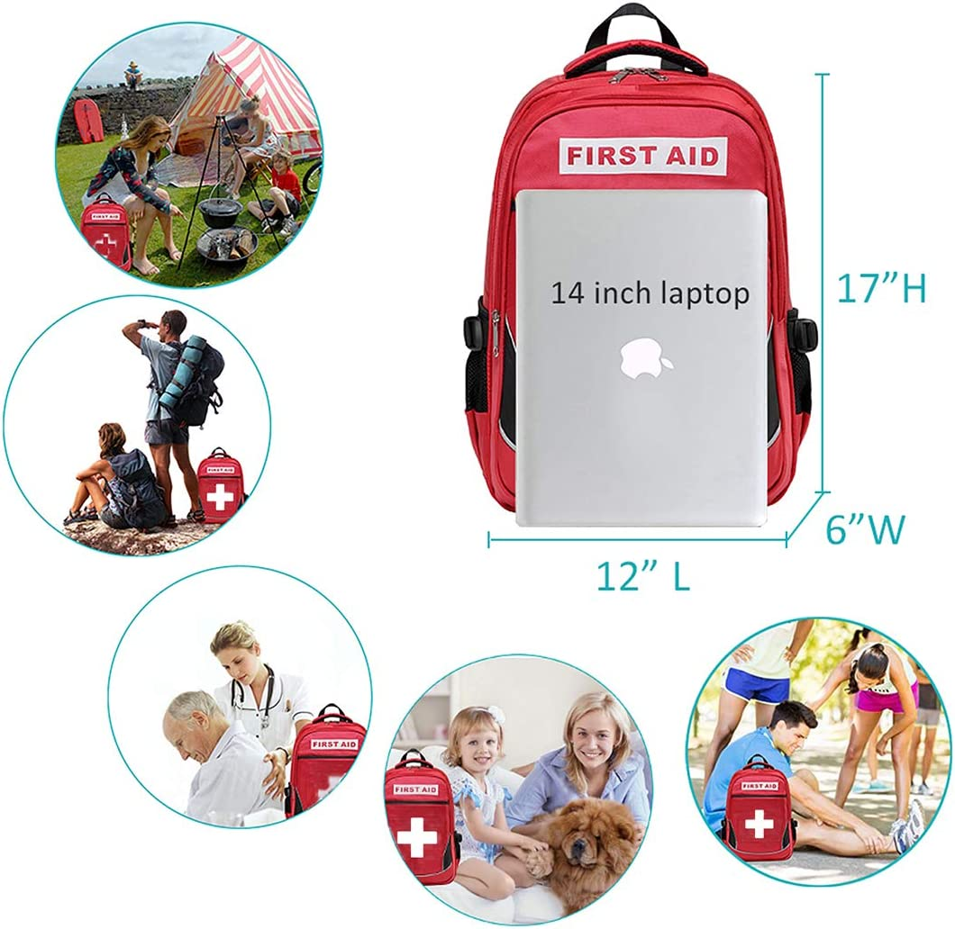 Hiking Field Trips Camoredy First Aid Bag Red Emergency Medical Bagckpack First Responder Trauma Bag Waterproof Multi-Pocket for Traveling Camping Childcare Scout Troop