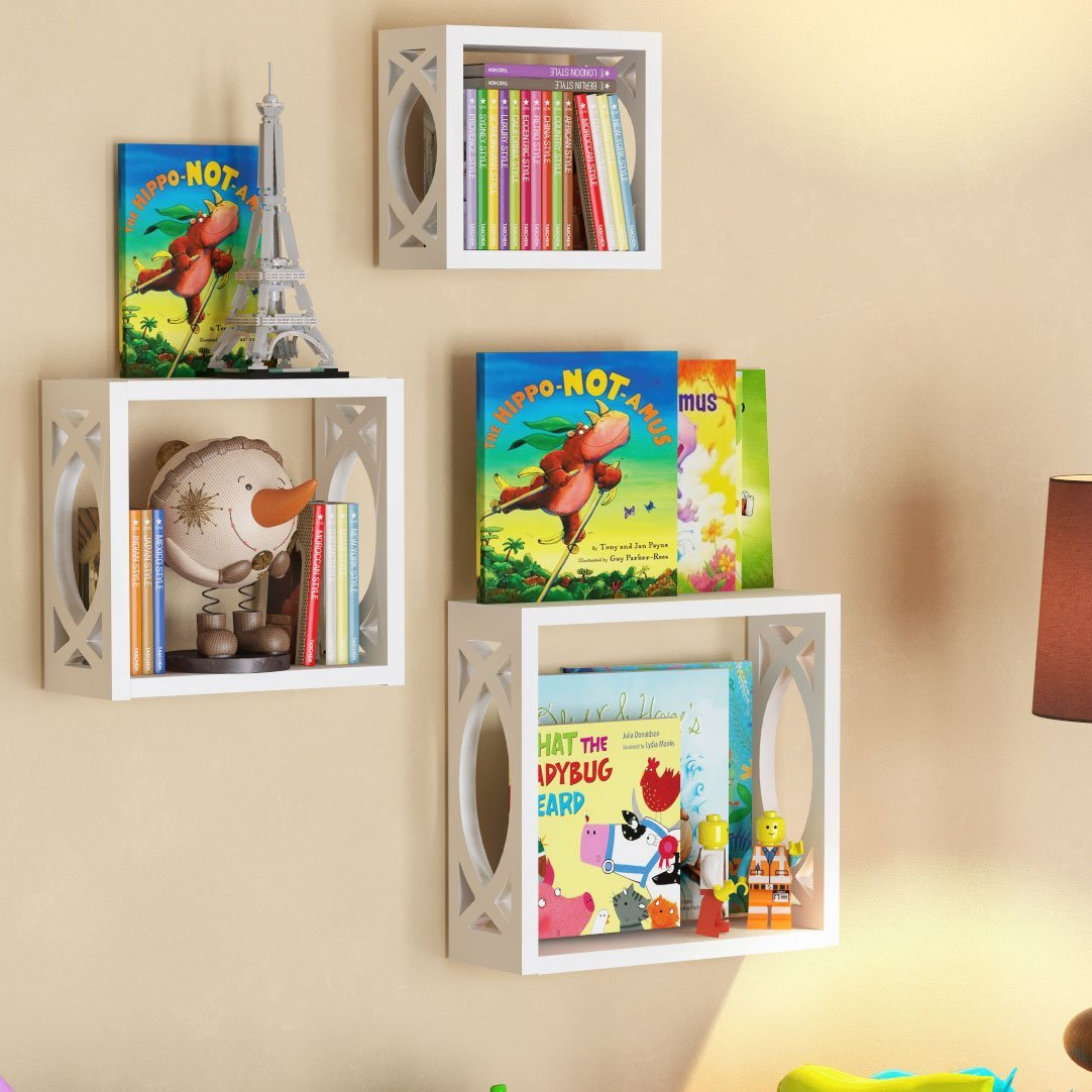 Children's Square Cube Wall Shelves Set 3 Pcs - Display Kids Favorite Books, Photos, and More – Beautifully Carved Side Panels and Open Back Design (White)