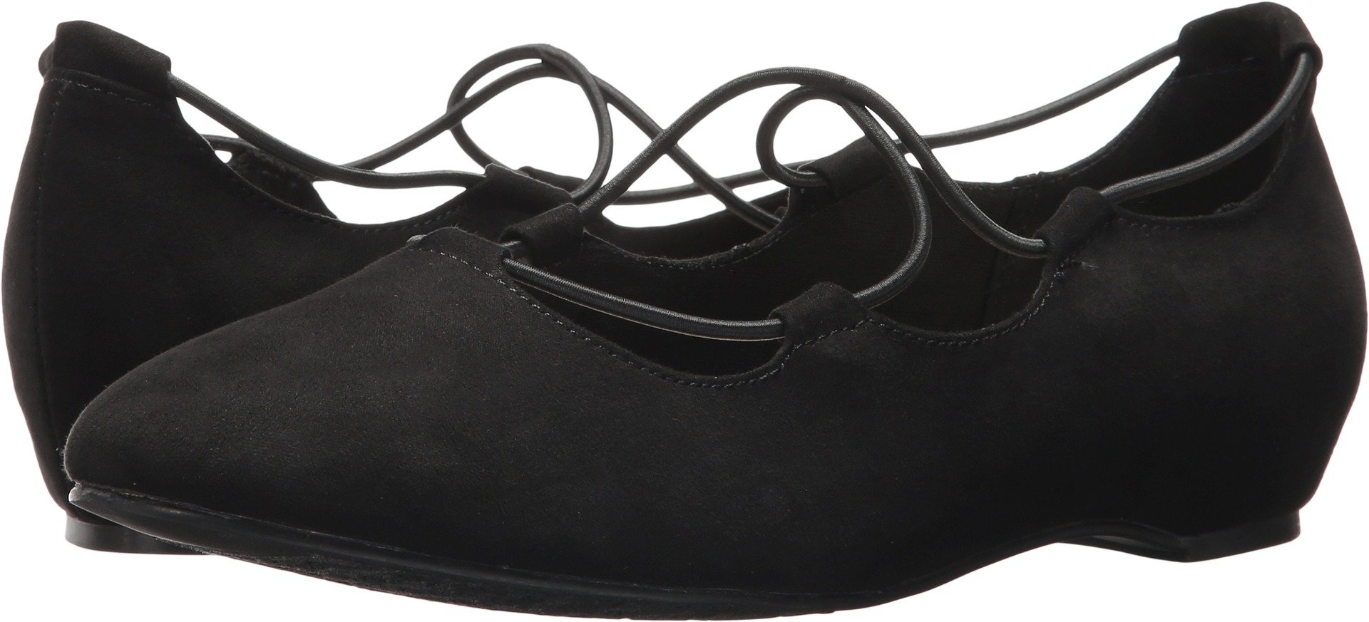 Soft Style by Hush Puppies Women's Colleen Flat, Black Faux Suede, 10 M US