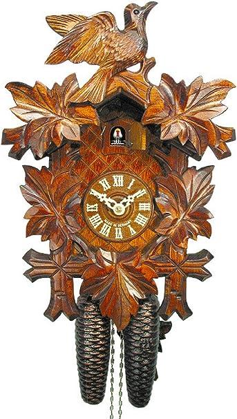 Reloj De Cuco Mecánico De Pared 8 Día Con 1 Pájaro Y 5 Hojas Alemán Bosque Negro Coco Coo Coo Relojes Home Kitchen
