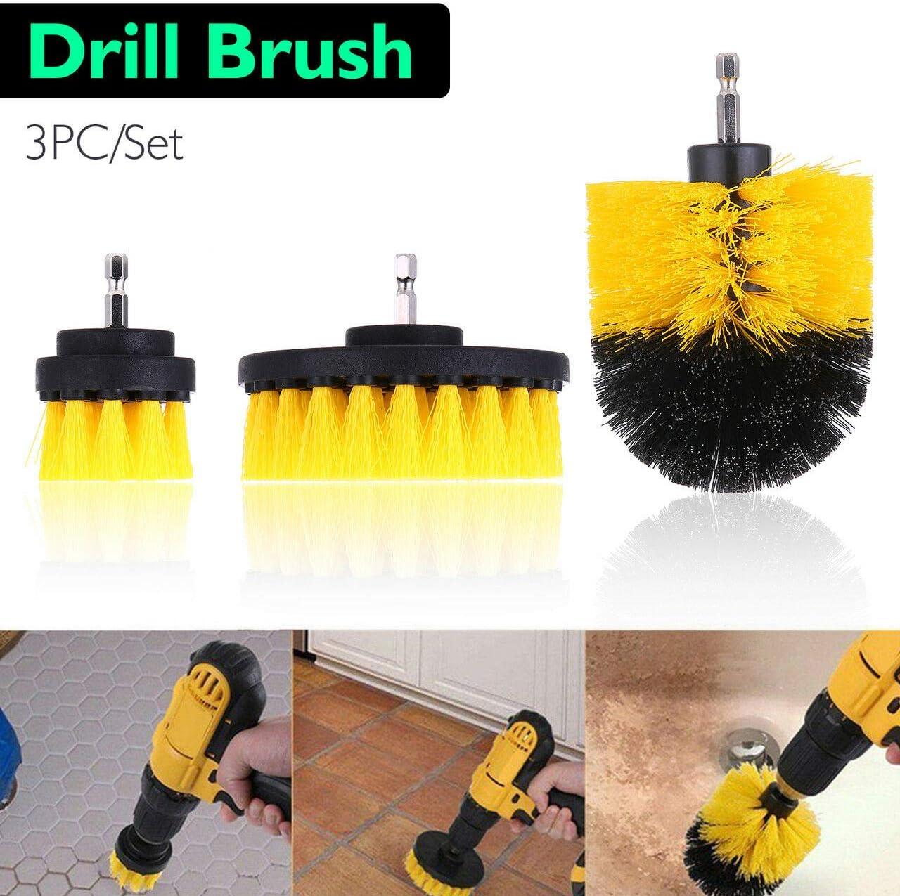 Klad-Shop 3pcs Power Scrubber Soft Drill Brush Set for Car Carpet Wall Tile Grout Cleaning