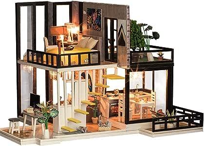 Oshide Wooden Dollhouse Mini Casa De Muñecas Hecha A Mano Miniatura De La Casa De Muñecas Con Luz LED: Amazon.es: Bebé