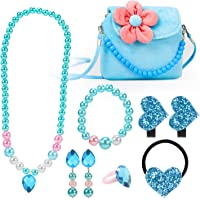 Hifot Kids Jewelry Little Girls Plush Handbag Necklace Bracelet Earrings Ring Hair Clips Set, Princess Costume Jewelry…