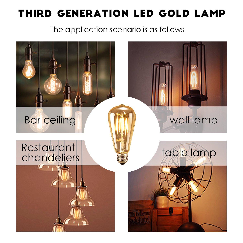 Classe /énerg/étique A++ Ampoule LED Edison,Samione Lampe D/écorative Ampoules /à incandescence R/étro Edison Ampoule Antique Lampe 3 Pack