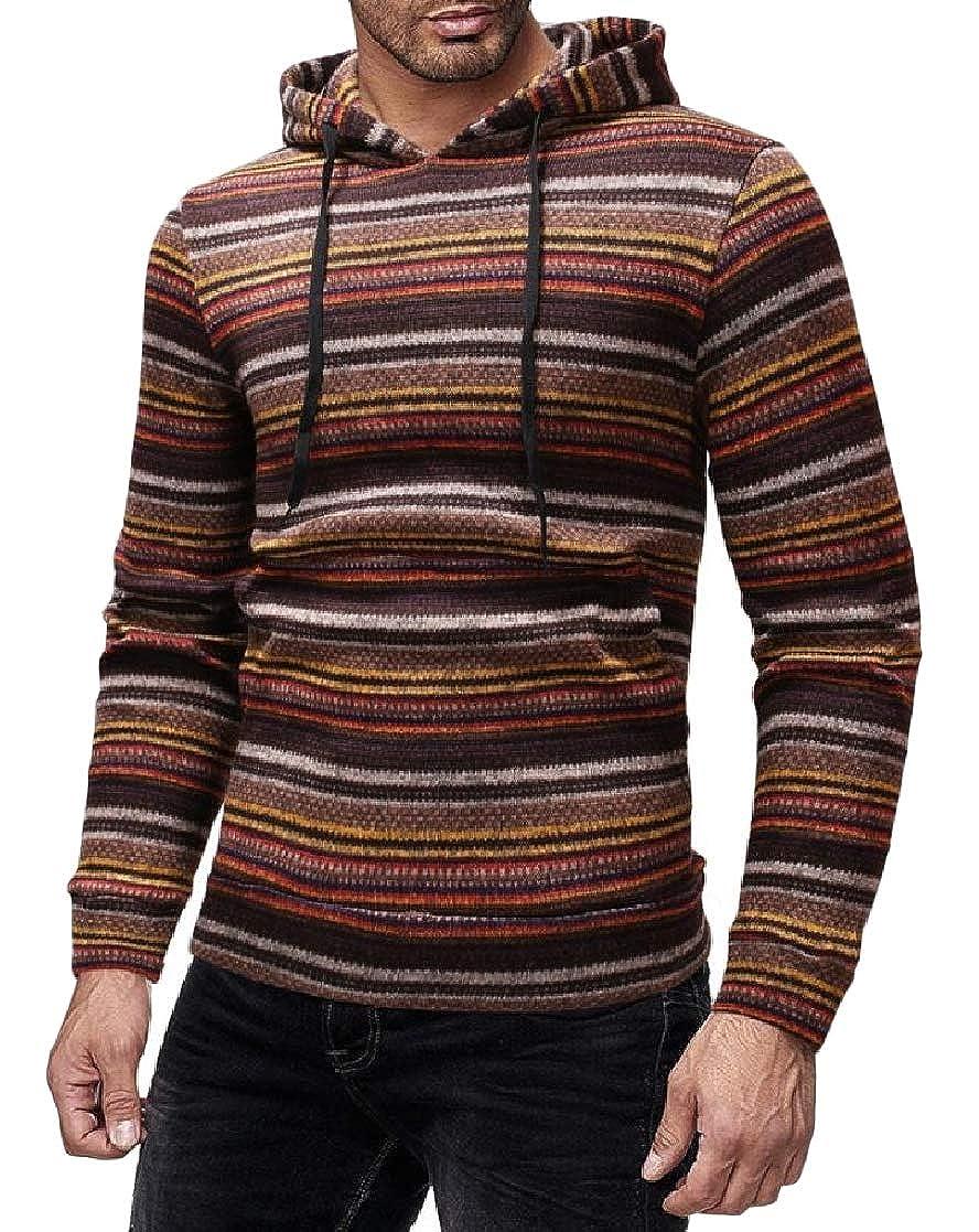 YUNY Mens Stripe Knitted Pockets Long Sleeve Hooded Pullover Sweatshirt Coffee XL
