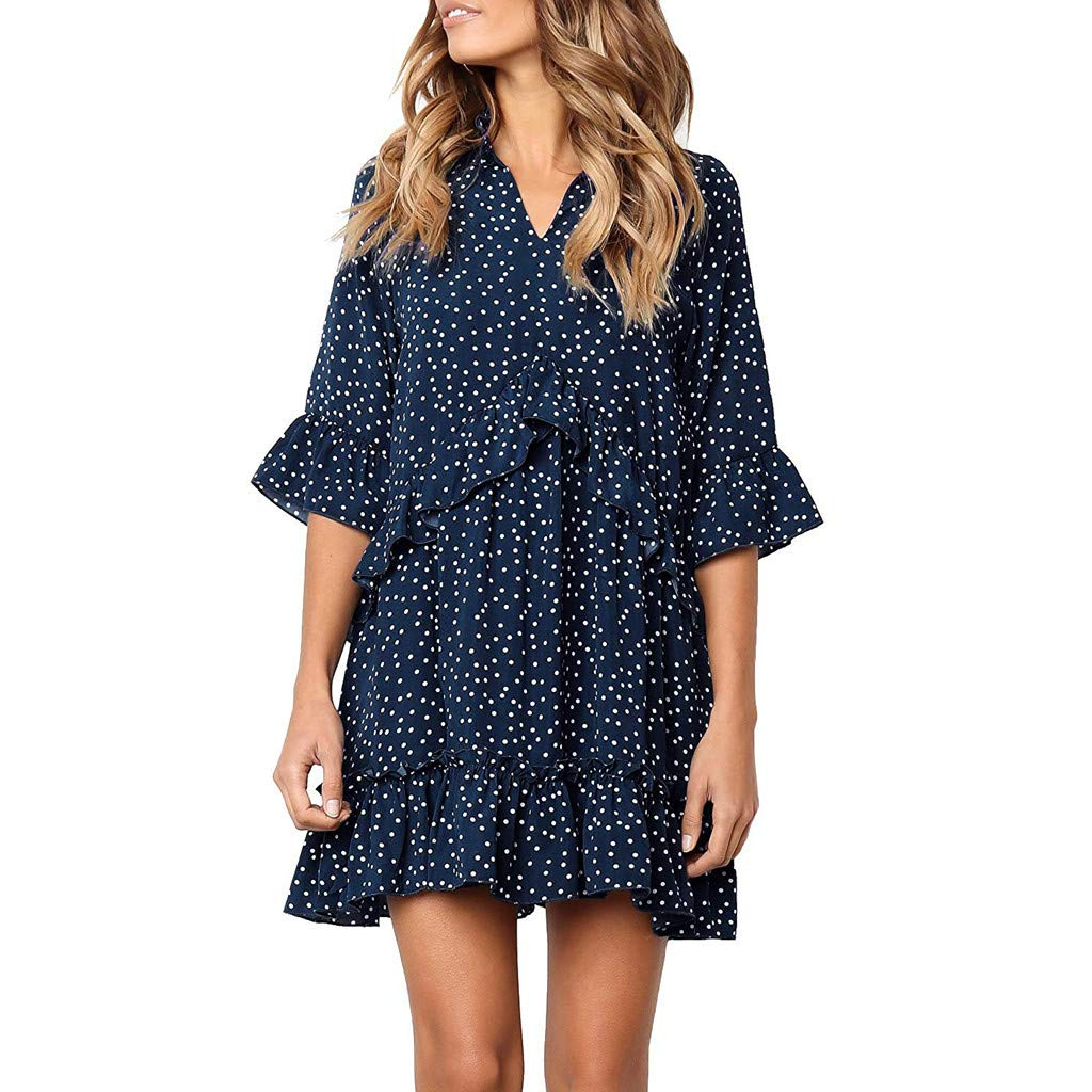 【MOHOLL】 Women's V Neck Ruffle Polka Dot Pocket Loose Swing Casual Short T-Shirt Dress Navy