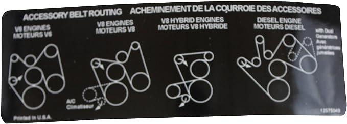 Amazon Com Gm Genuine 12575049 Accessory Belt Routing Label Automotive