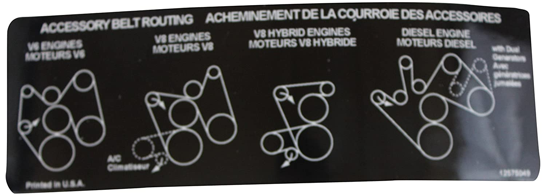 Genuine Gm 12575049 Accessory Belt Routing Label 2004 Taurus 3 0 Auto Parts Diagrams