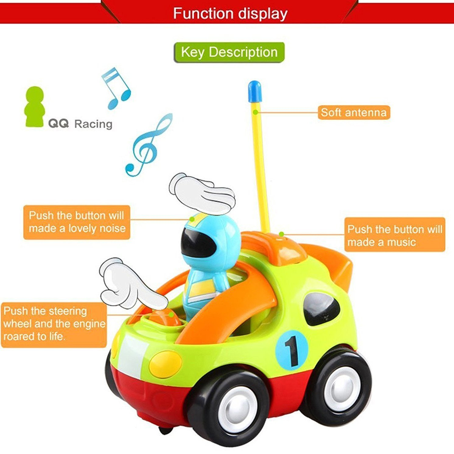 ERolldeeP BaBrt RC Cartoon Race Car with Action Figure Radio