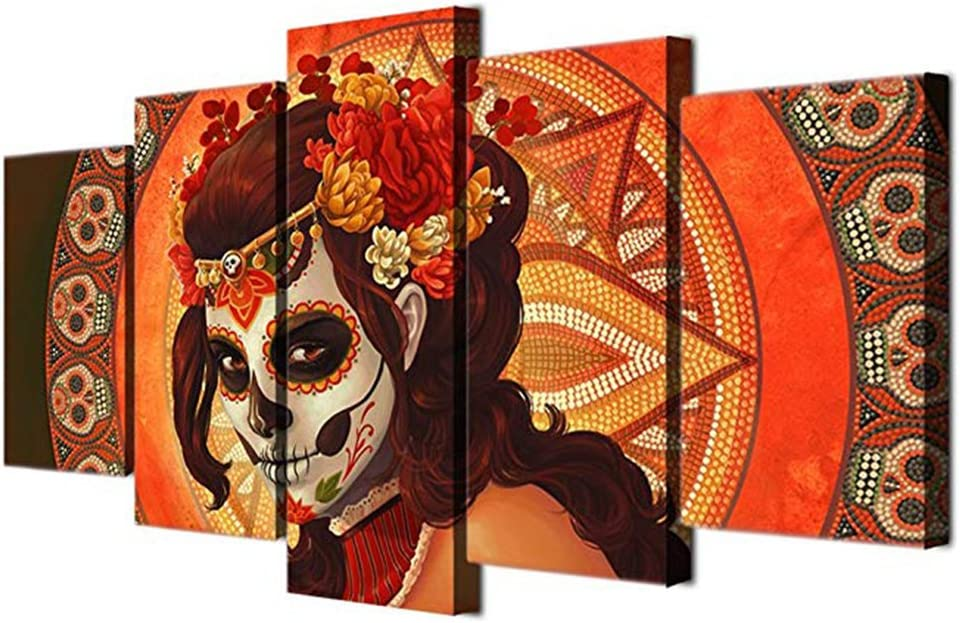 Day of the Dead Decor Wall Pictures for Living Room Sugar Skull Girl 5 Panel Canvas Art Paintings All Saints' Day Celebration with Catholic Church Home Decor Artwork Framed Ready to Hang(60''Wx32''H)